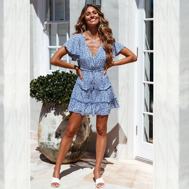 sexy deep v floral lace short sleeve pleated dress  NSYD3922