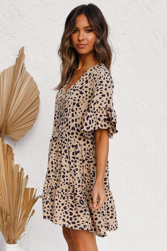 trumpet sleeve V-neck shell button pleated loose print dress NSYD3889