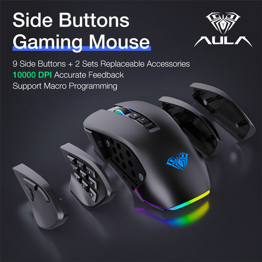 Aula Rgb Gaming Mouse With Side Buttons Macro Programming 10000 Dpi Adjustable 14 Key Wired Usb Backlit Mouse For Desktop Laptop H510 White Newegg Com