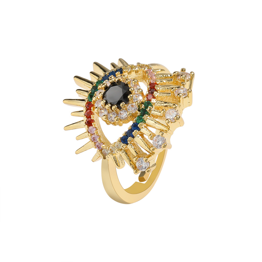 Eye Copper Micro Inlaid Colorful Zircon Opening Adjustable Ring NHJE206543