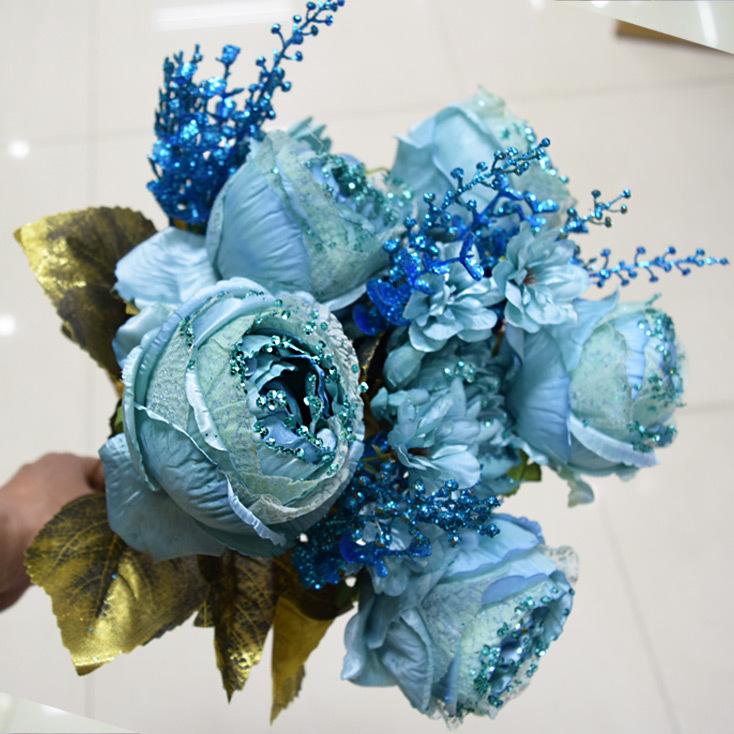 亮片宫廷牡丹玫瑰欧式复古仿真假花绢花客厅装饰花艺塑料花束摆放