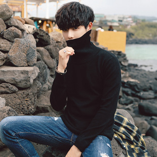 Autumn new style knit sweater pure color casual sweater men's self-cultivation high neck pullover Korean style inner line sweater tide sweater men
