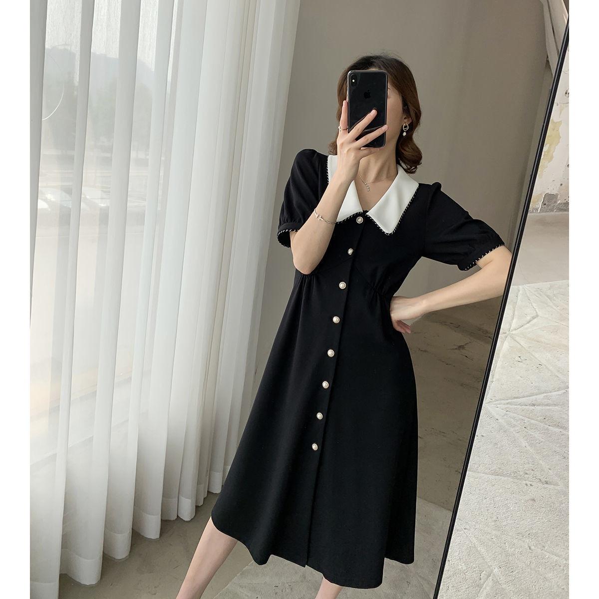 中长款过膝小黑裙2020夏季新款收腰显瘦裙子女夏裙子女学生韩版仙