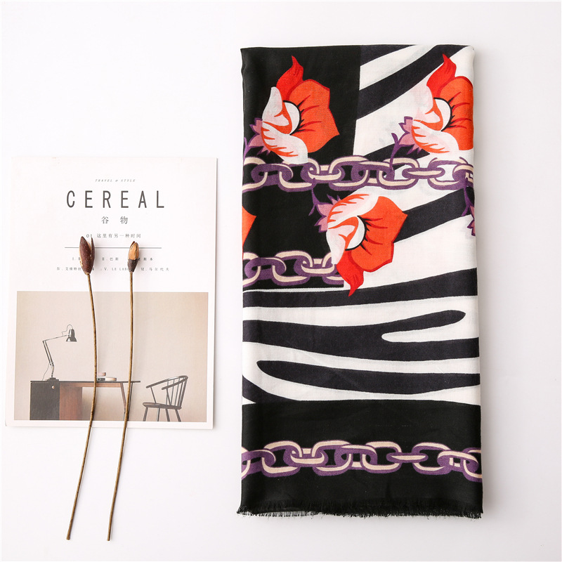 Irregular pattern design scarf women spring and autumn Korean zebra chain stitching long scarf shawl dual-use NHGD202410