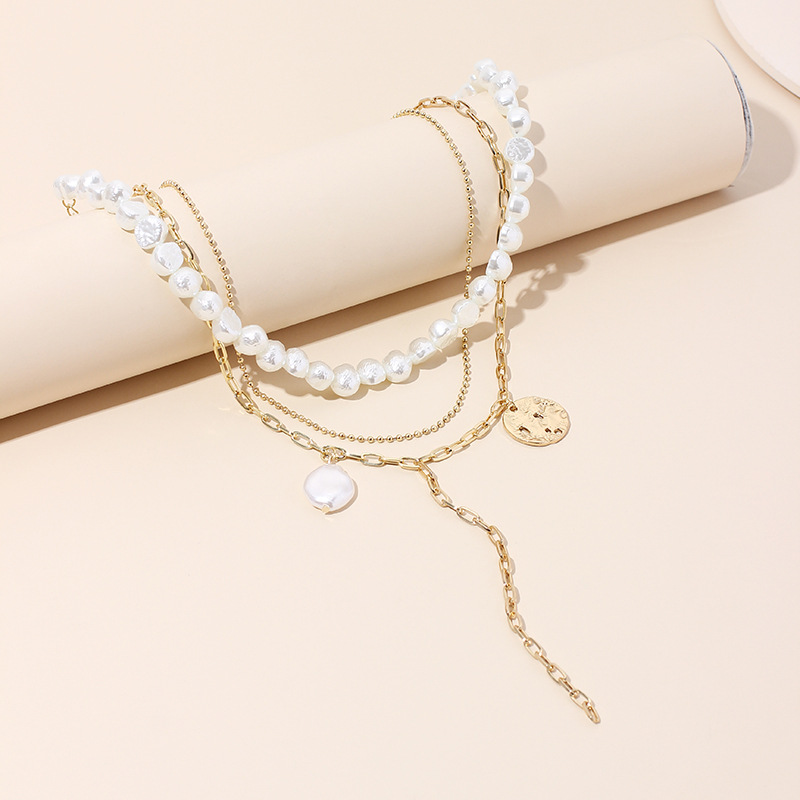 Multi-layer women's pearl necklace simple disc tassel chain clavicle necklace sweater chain NHRN236234