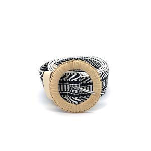 ខ្សែក្រវ៉ាត់នារី Women Casual Wooden Buckle Thin Tide Belt PZ769589