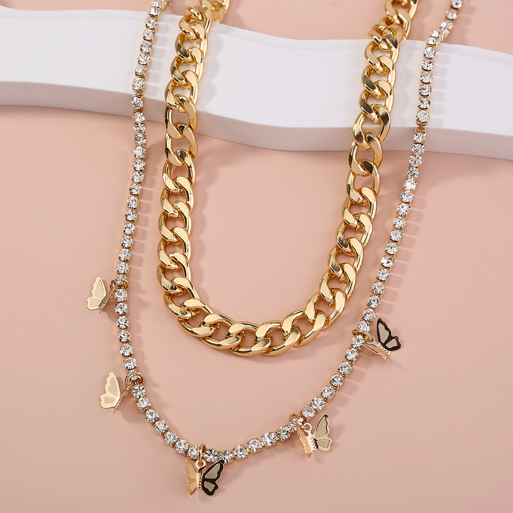Fashion thick chain rhinestone butterfly tassel double layer necklace NHAN336224