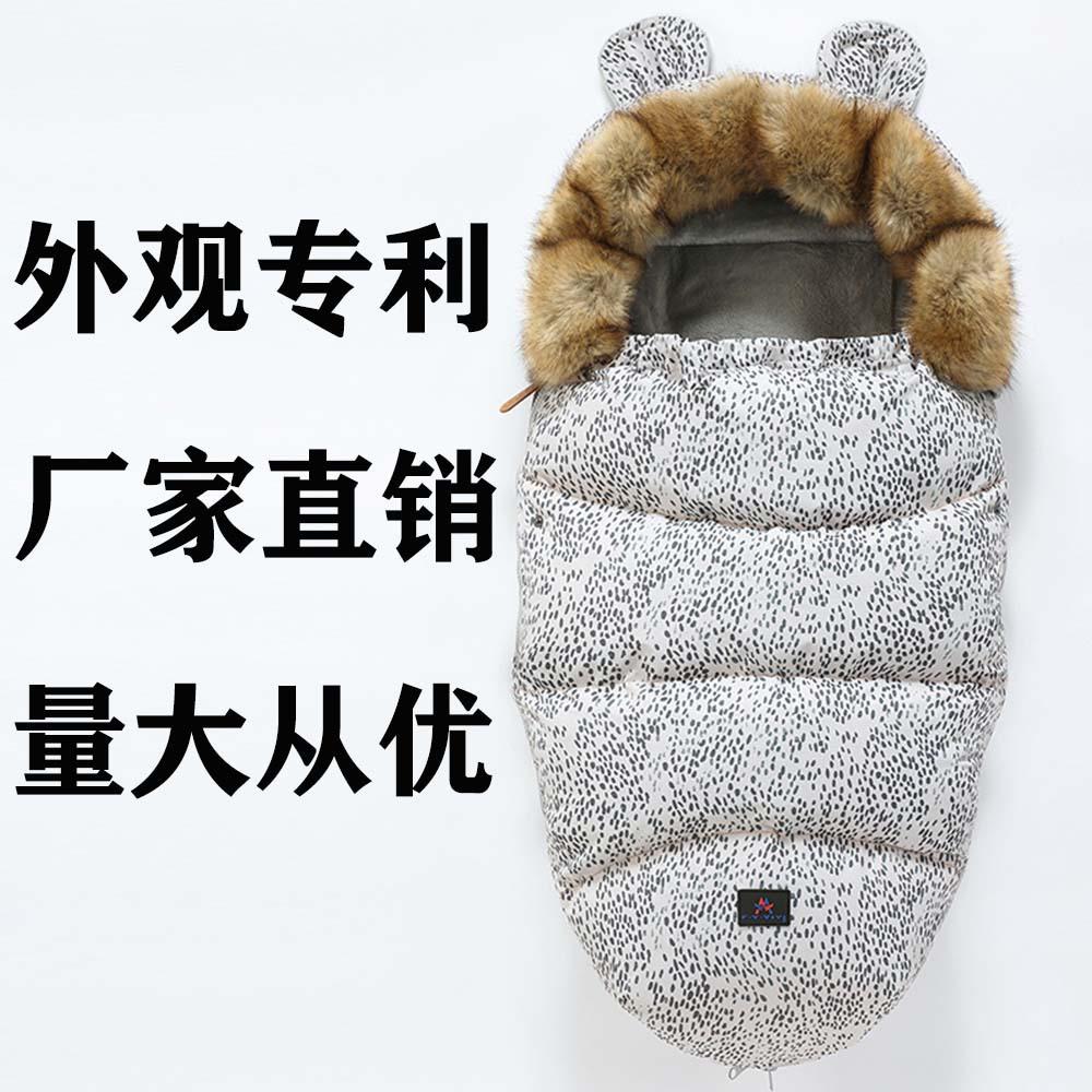 婴儿睡袋宝宝秋冬季推车加厚防踢被新生儿保暖防寒睡袋一件代发