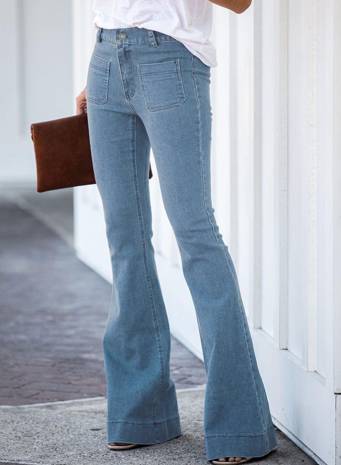 high waist high stretch bootcut pants slim jeans  NSSI2344