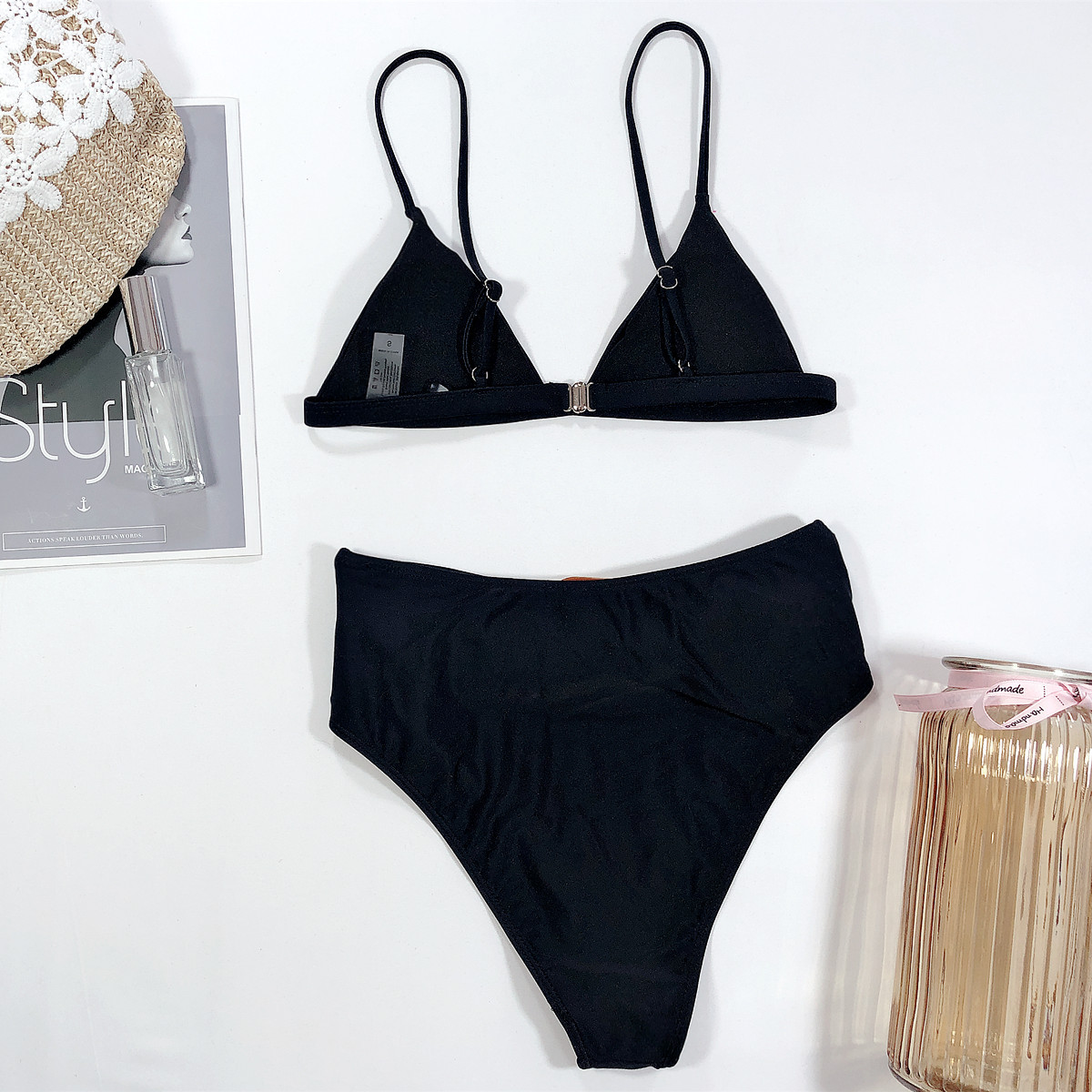 Bikini wholesale women high waist solid color black bikini fashion ladies swimsuit split NHDA215665