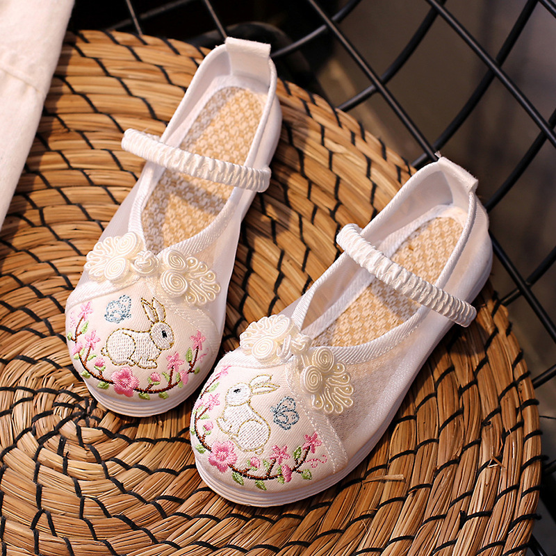 Children gauze shoes, ancient Hanfu sandals, Chinese folk dance hanfu embroidered shoes, students shoes, girls Beijing shoes