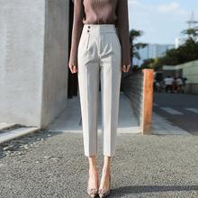 时尚女裤2020新款九分哈伦裤女秋冬款高腰版型直筒烟管毛呢西装裤
