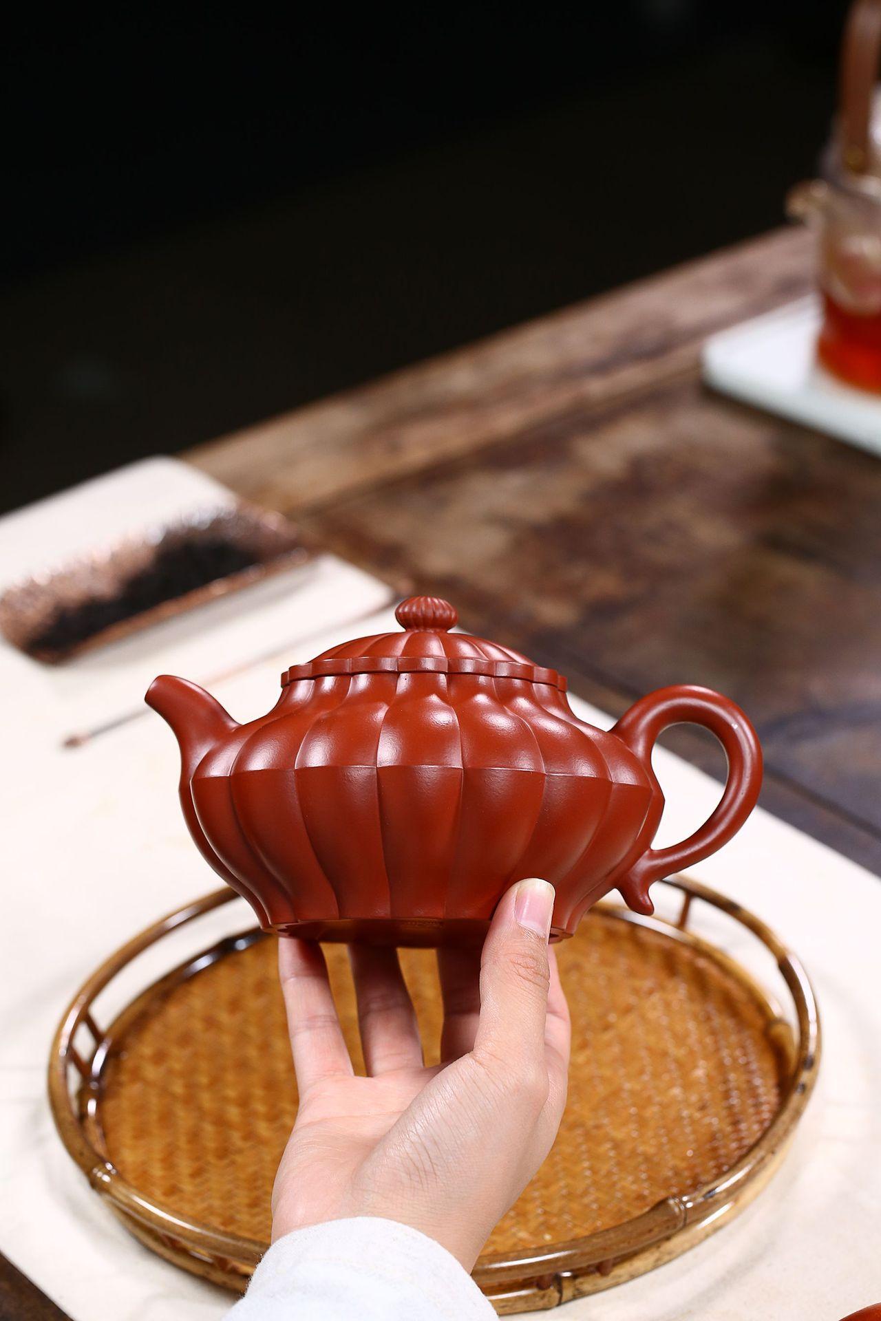 高鳴商城 宜興紫砂茶具原礦大紅袍筋紋潘壺紫砂壺名家手工茶壺茶具定制 編號a005