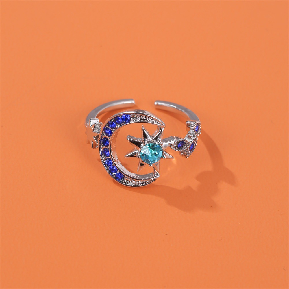 new ring personality fashion star moon opening index finger ring bright blue star ring wholesale nihaojewelry  NHMO219008