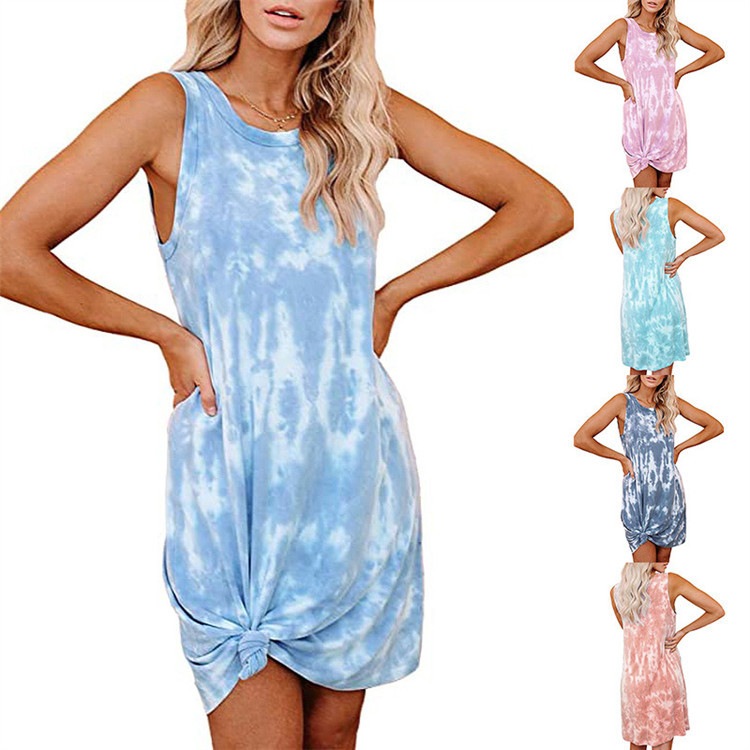 Fashion new women's tie-dye printing loose vest dress women wholesale NHYF241353