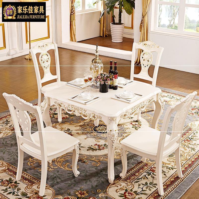 欧式实木餐桌大理石面正方形餐桌椅组合长方形饭桌小户型餐厅家用
