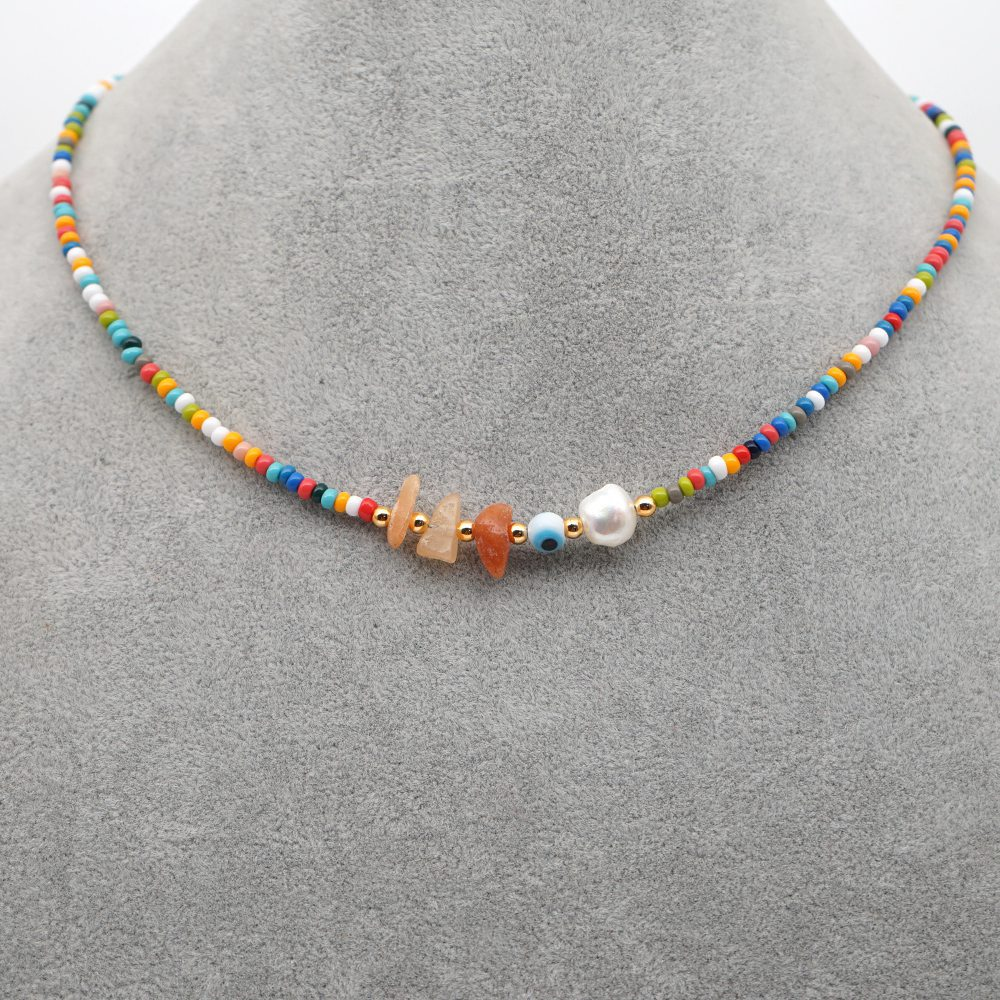 hot sale wish bohemian candy colorful rice beads clavicle chain natural pearl necklace for women NHGW241881