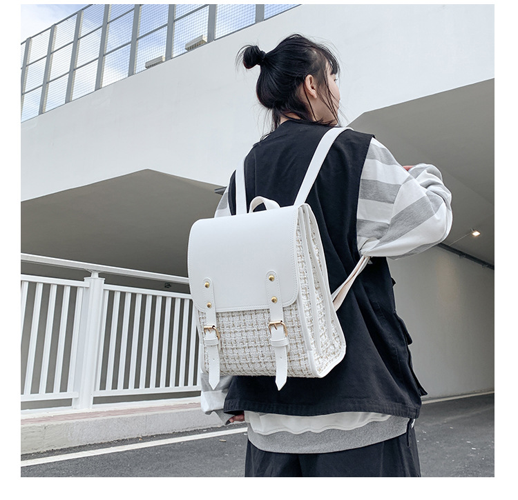 retro woolen cloth backpack NHTG309264