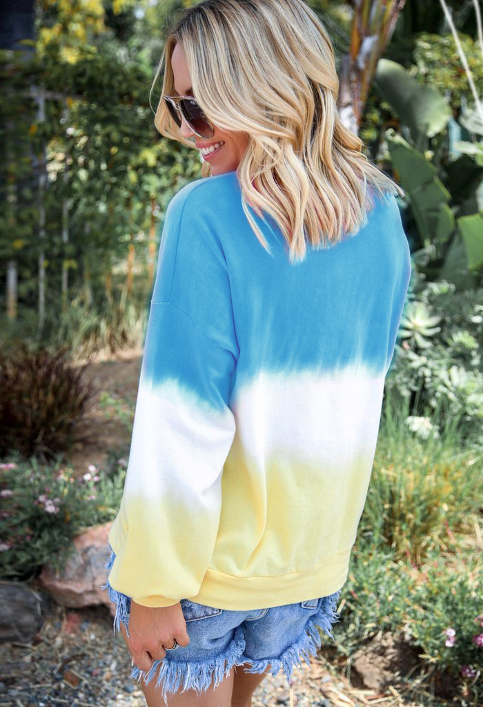 women's sweater rainbow gradient printing long-sleeved T-shirt top sweater NSYF1090