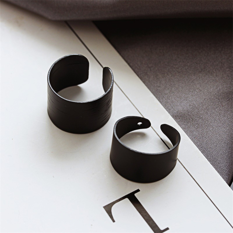 Korean jewelry black matte frosted open ring threepiece tail ring wholesales yiwu suppliers china NHDP202825