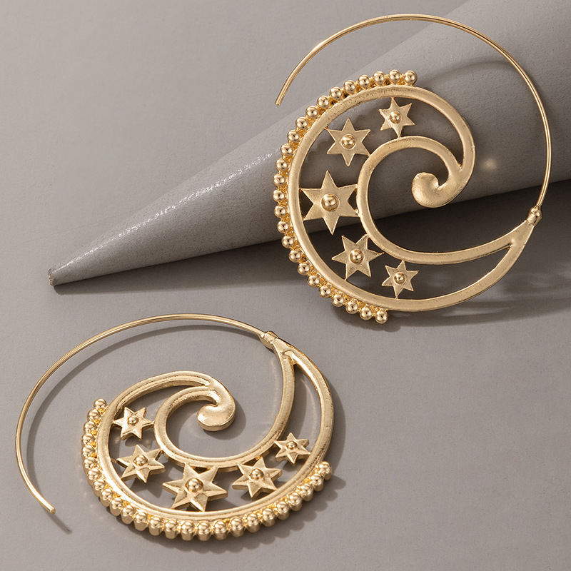 star spiral heart-shaped retro earrings NHGY287571