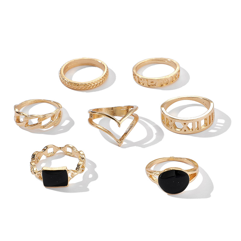 New Hollow Carved Ring Set of 7 Retro Joint Ring Set NHGY201867