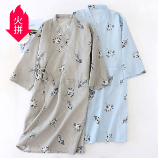 Men's woven cotton gauze thin nightgown, summer double-layer mid-length bathrobe, breathable and comfortable home gown wholesale