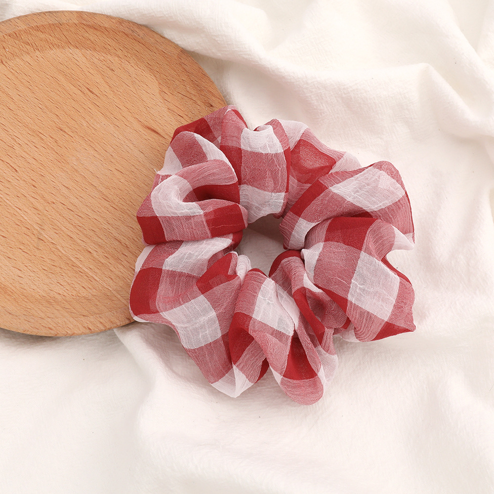 Fashion Thick Striped Plaid Fabric Korean Hair Loop Lady Retro Cheap Scrunches NHJE205964
