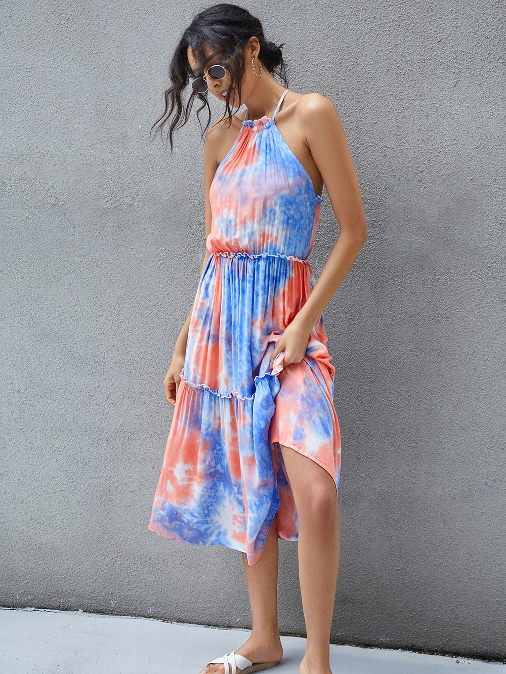 summer new fashion hot style sexy bandage strapless bow tie-dye dress NSDF1291
