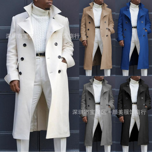 2020 new men's fashion lapel trench coat double-breasted men's trench coat autumn and winter long jacket coat