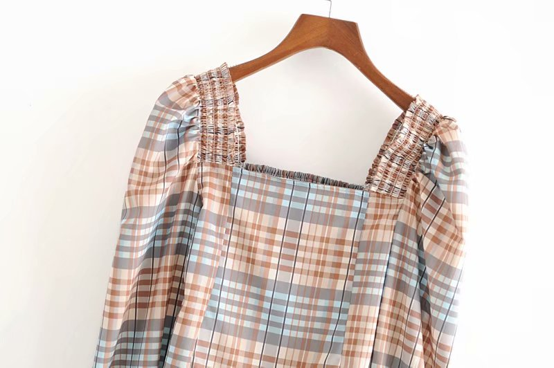 Wholesale Women's New Square Collar Bubble Long Sleeve Top Plaid Printing Shirt NHAM204816