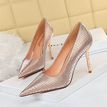 6189-3 European and American Style Sexy thin high heeled shoes metal thin heel high heel shallow mouth pointed glittering Sequin cloth single shoes