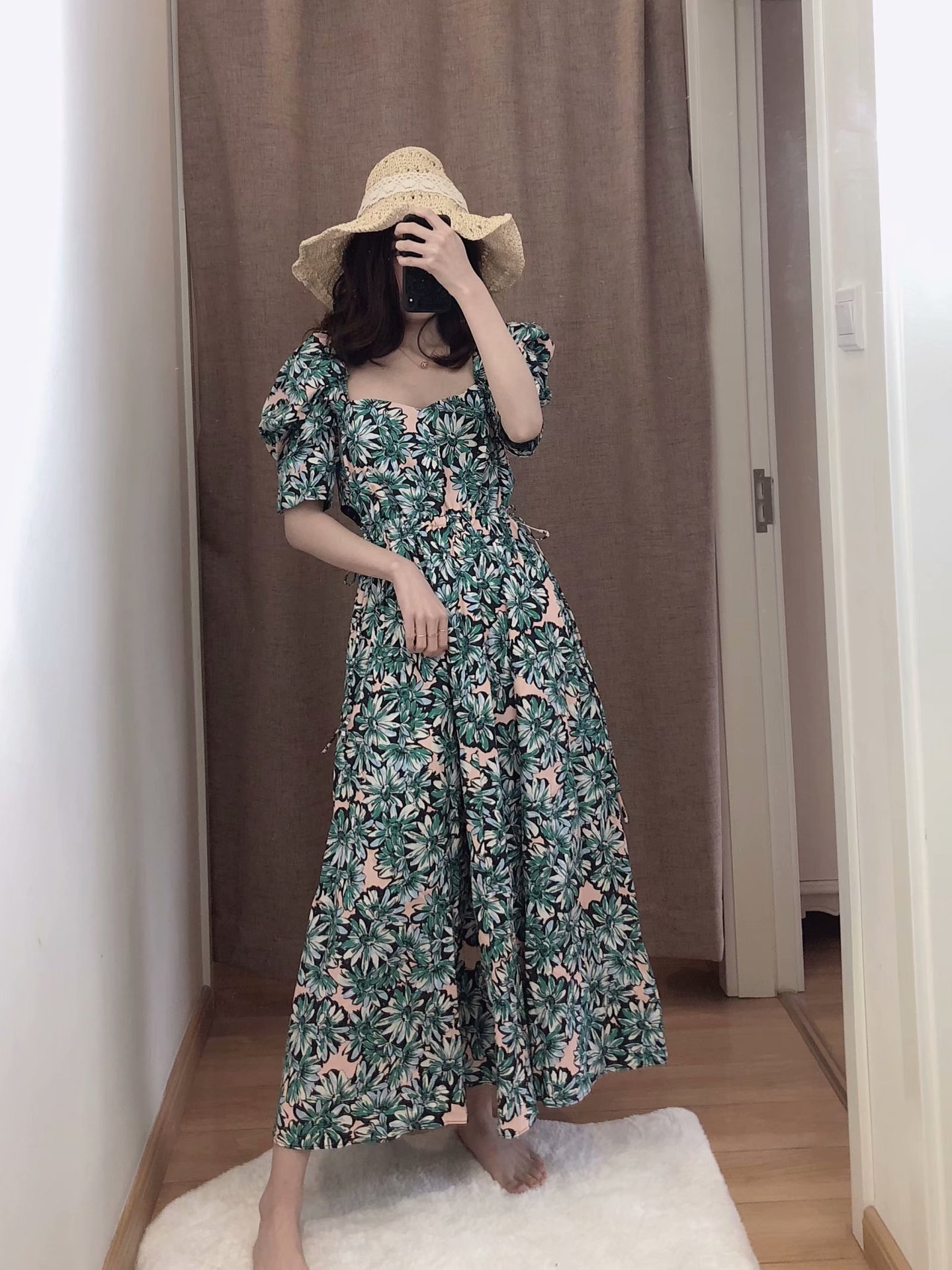 Fashion Wholesale Midi Puff Sleeve Print Dress  NHAM200151