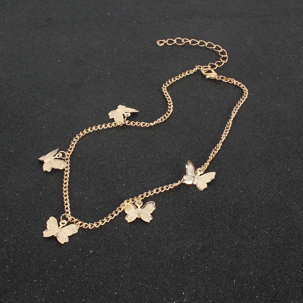 simple  alloy diamond butterfly necklace  NHCT281097