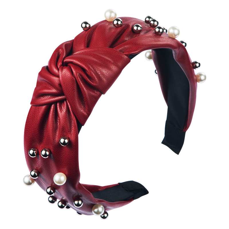 New pearl hair band wholesale knotted wide-brimmed PU leather headband fashion wild pleated headdress NHLN213428