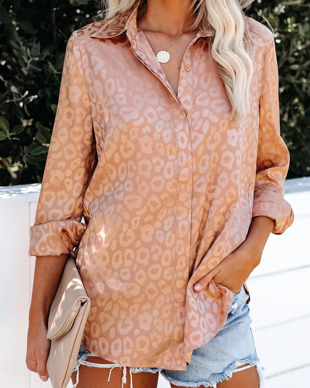 autumn and winter new leopard jacquard all-match fashion split long-sleeved shirt  NSYD3706