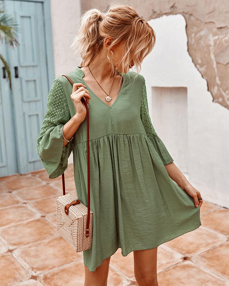 Mori girl summer lace stitching dress NSKA964