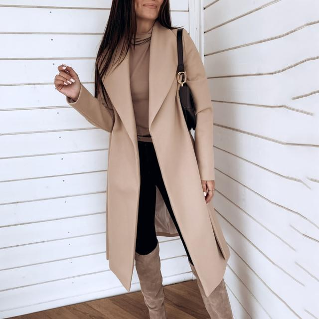 autumn and winter new fashion lace lapel woolen coat NSYD3729