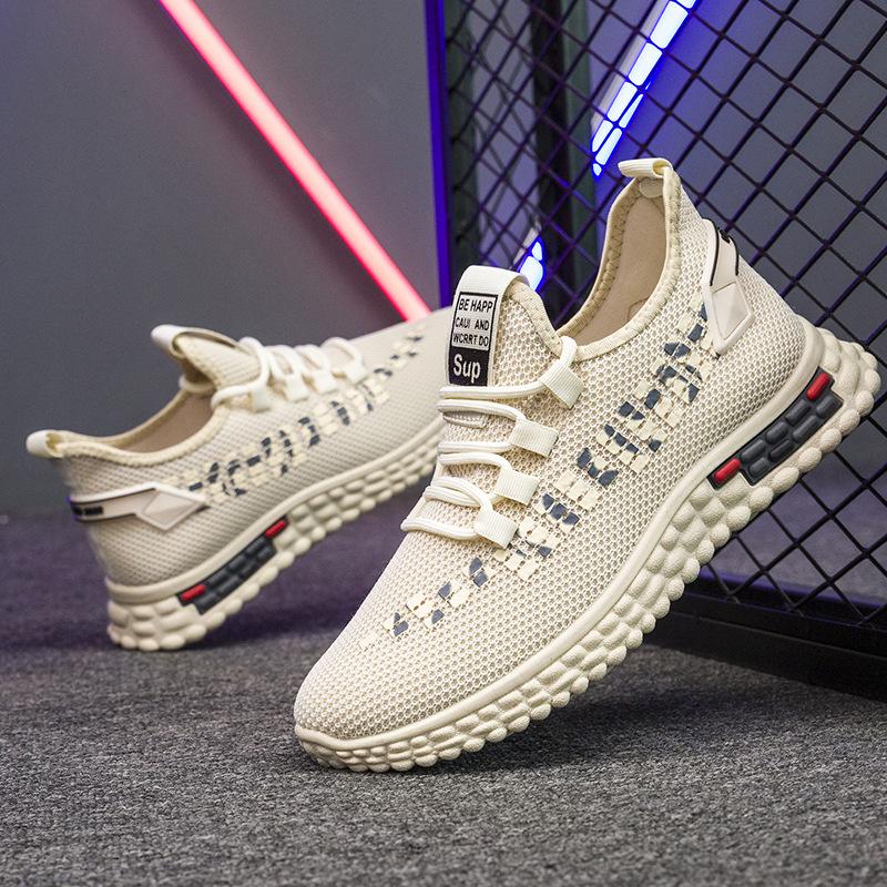 2020 الجديدة تحلق المنسوجة الأحذية البرية تنفس أحذية رياضية للرجال الاحذية تشغيل أحذية رجالية شبكة الأحذية المد جوز الهند