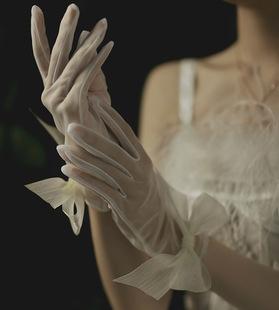 Bride wedding bow gloves short wedding etiquette gloves photo photo photography transparent gauze gloves 1046