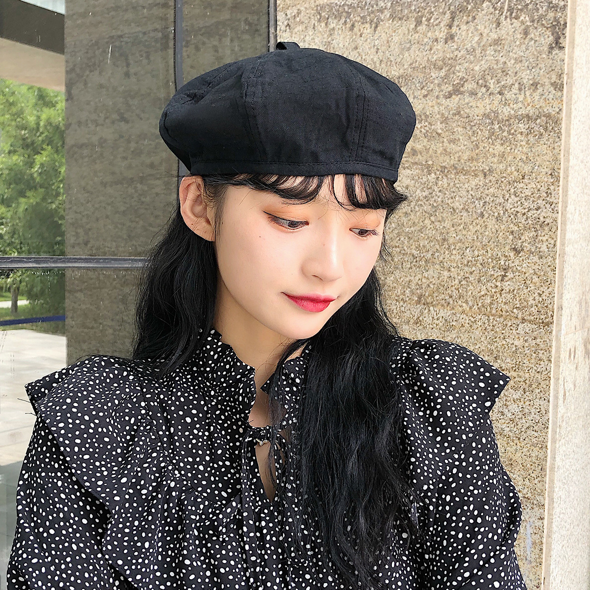 button double-sided solid color beret hat NSTQ21349