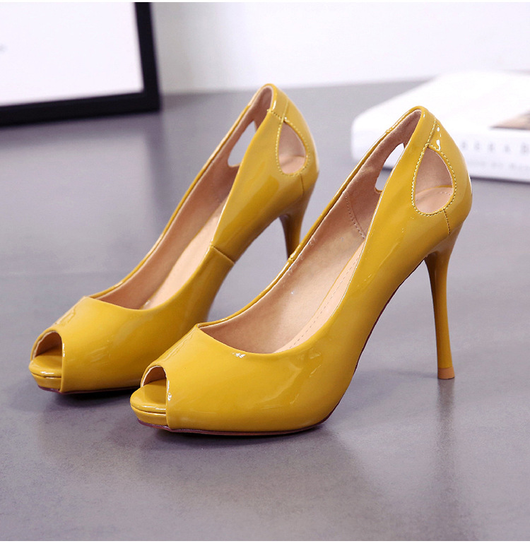 Spring and summer new fish mouth single shoes fine heel shallow hollow hollow platform temperament high heels women NHSO200272