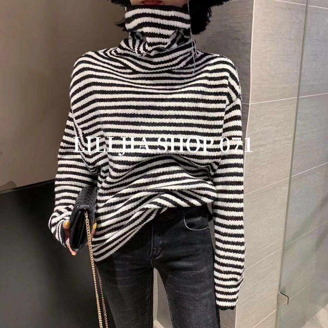 洋气加厚款高领堆堆领软糯舒适宽松条纹打底针织衫毛衣女款秋冬C