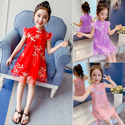 Children cheongsam dress girls embroidered flower Hanfu cheongsam skirt of Tang Dynasty