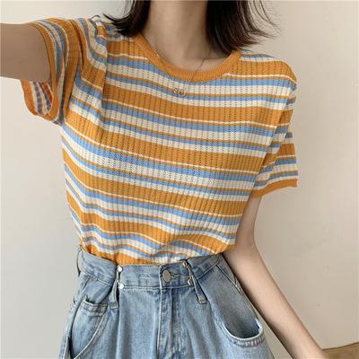 夏季新款韩版网红洋气泫雅风显瘦修身镂空针织彩虹条短袖T恤女装