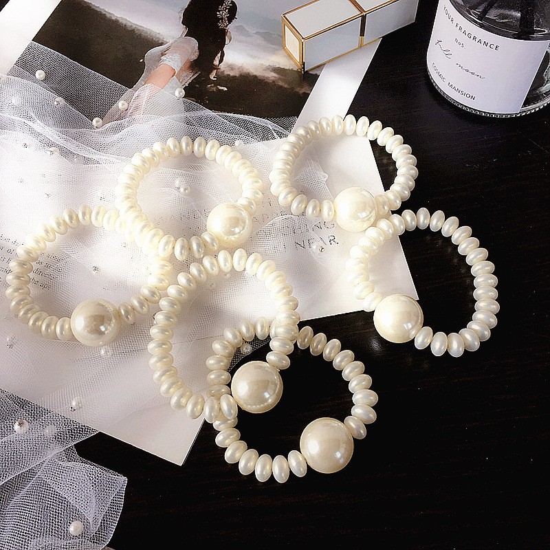 Korean retro highlight pearl simple wild cheap hair ring women NHHI202505