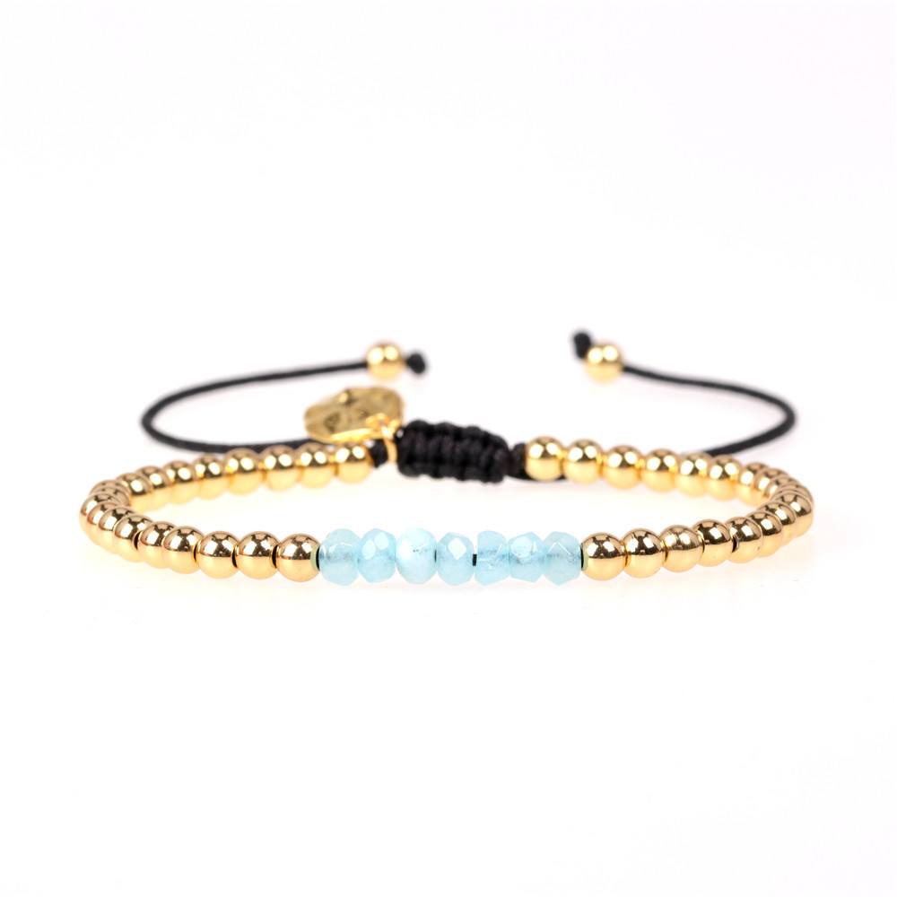 New Accessories Multi-color Mixed Faceted Natural Stone Bracelet Copper Plated Bead Adjustable Bracelet NHPY202872