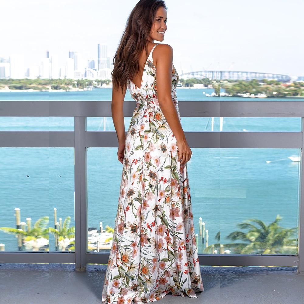Fashion Sling Printed Beach Dress NSYF1848