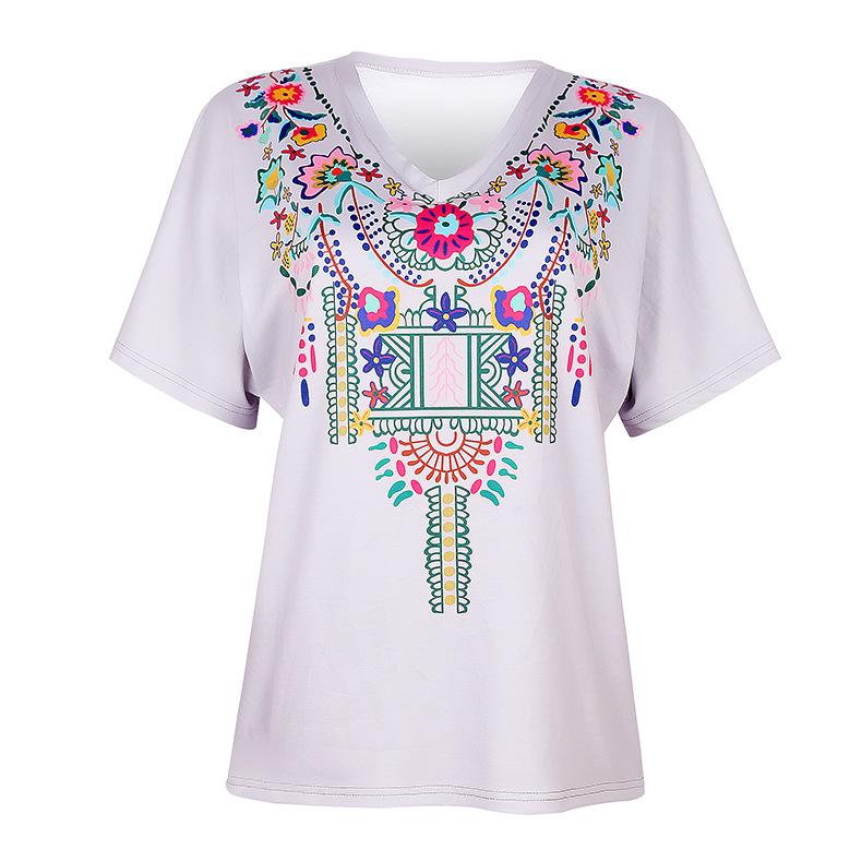 women's loose printed short-sleeved T-shirt  NSKX8451