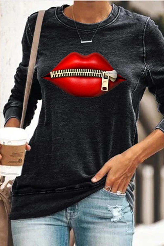 long-sleeved autumn new cartoon lip print stand collar zipper women's pullover sweater  NSSI2348